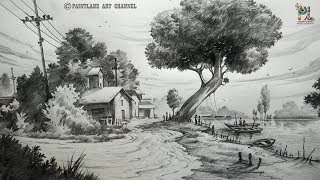 How to draw a Landscape Drawing and Shading For Beginners | Step by Step