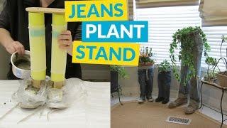 DIY Blue Jean Plant Stand