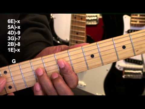 Blues In A Guitar Chord TABS Shapes & Variations Tutorial Lesson Key Of A Major