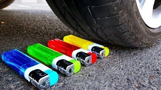 Crushing Crunchy & Soft Things by Car! - EXPERIMENT: CAR VS COLOR LIGHTERS