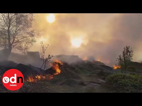 Huge blaze breaks out on West Yorkshire moorland on UK's hottest day of the year