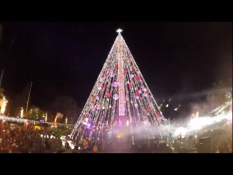 El árbol de la Navidad 'Hecho con tus sueños' ilumina Murcia