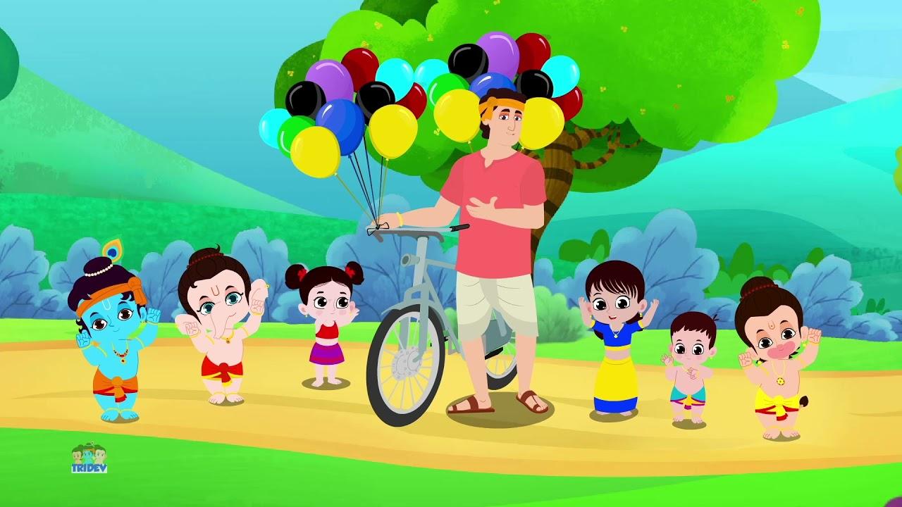 Gubbare wala   गुब्बारे वाला   Tridev Hindi Rhymes for Kids   Bachon Ke Balgeet   Ek Mota Hathi