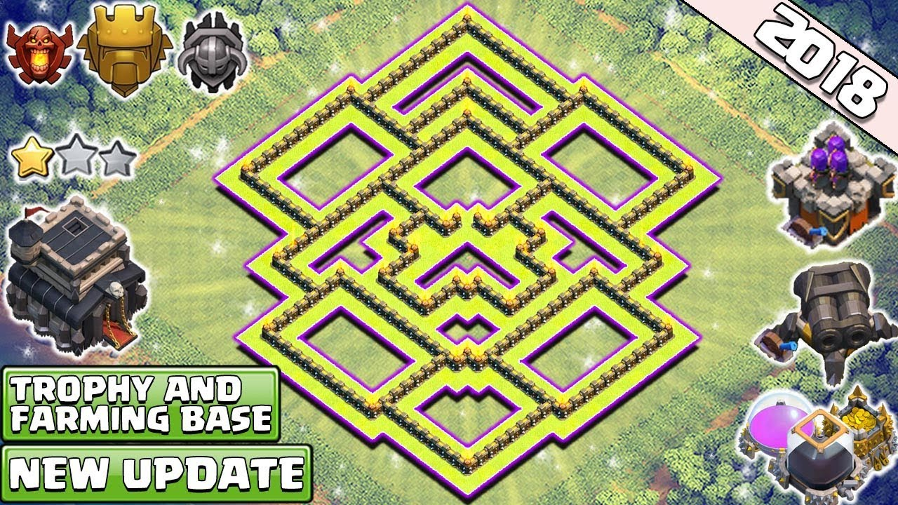 new best town hall 9 base design 2018 th9 trophy and farming