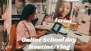 REAL Online School Morning Vlog/ Routine ( I CRIED) | just jordyn