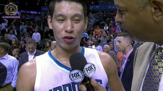 Jeremy Lin on the court post game interview - Hornets vs Spurs | 3/21/16