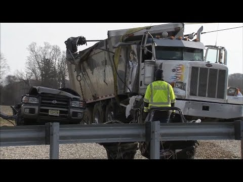 2 dead, 3 hurt after SUV crushed by dump truck on Rt. 202 ramp