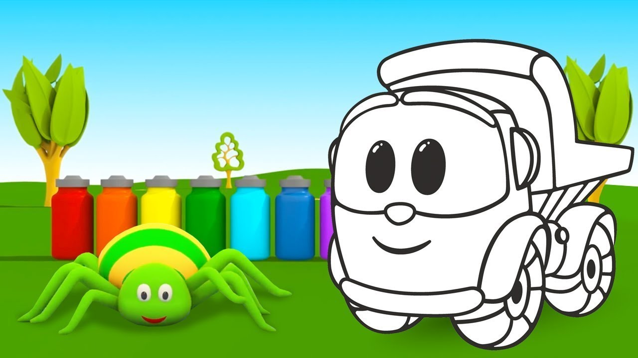 The colors song for kids! Learn colors & sing with Leo the truck! The Colored Spiders song.