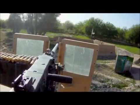Война в Ираке. Как работает пулемет 50 калибра.