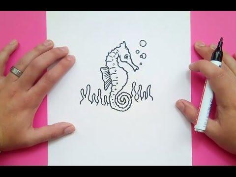 Como dibujar un caballito de mar paso a paso 2 | How to draw a ...