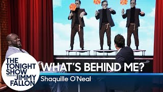 "Shaquille O'Neal and Jimmy take turns giving each other clues to guess the random scenes happening behind them, like ""Abe Lincoln and Shrek sharing a milkshake,"" before the clock runs out.  Subscribe NOW to The Tonight Show Starring Jimmy Fallon: http://bit.ly/1nwT1aN  Watch The Tonight Show Starring Jimmy Fallon Weeknights 11:35/10:35c Get more Jimmy Fallon:  Follow Jimmy: http://Twitter.com/JimmyFallon Like Jimmy: https://Facebook.com/JimmyFallon  Get more The Tonight Show Starring Jimmy Fallon:  Follow The Tonight Show: http://Twitter.com/FallonTonight Like The Tonight Show: https://Facebook.com/FallonTonight The Tonight Show Tumblr: http://fallontonight.tumblr.com/  Get more NBC:  NBC YouTube: http://bit.ly/1dM1qBH Like NBC: http://Facebook.com/NBC Follow NBC: http://Twitter.com/NBC NBC Tumblr: http://nbctv.tumblr.com/ NBC Google+: https://plus.google.com/+NBC/posts  The Tonight Show Starring Jimmy Fallon features hilarious highlights from the show including: comedy sketches, music parodies, celebrity interviews, ridiculous games, and, of course, Jimmy's Thank You Notes and hashtags! You'll also find behind the scenes videos and other great web exclusives.  What's Behind Me? with Shaquille O'Neal http://www.youtube.com/fallontonight  #FallonTonight #ShaquilleONeal #JimmyFallon"