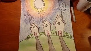Watercolor Pencil Painting- Trippy Houses