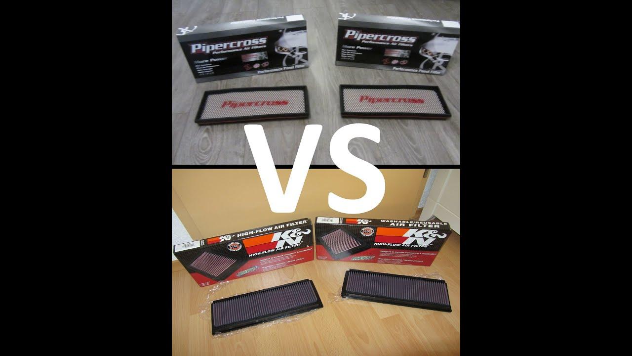 pipercross vs k n sportluftfilter test bericht youtube. Black Bedroom Furniture Sets. Home Design Ideas