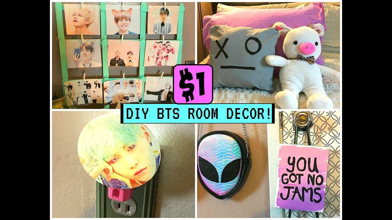 DIY $1 KPOP BTS ROOM DECOR! - YouTube on Room Decor Bts id=46724