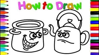 Step with the aid of Step How to Draw Funny Pot and Kettle - Coloring Book for Kids - How to Draw v