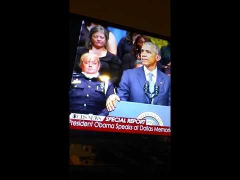 Officer sleep during President speech.