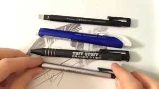 Eraser Review, Comparison, and Demonstration Tombow Mono Pentel Paper Mate