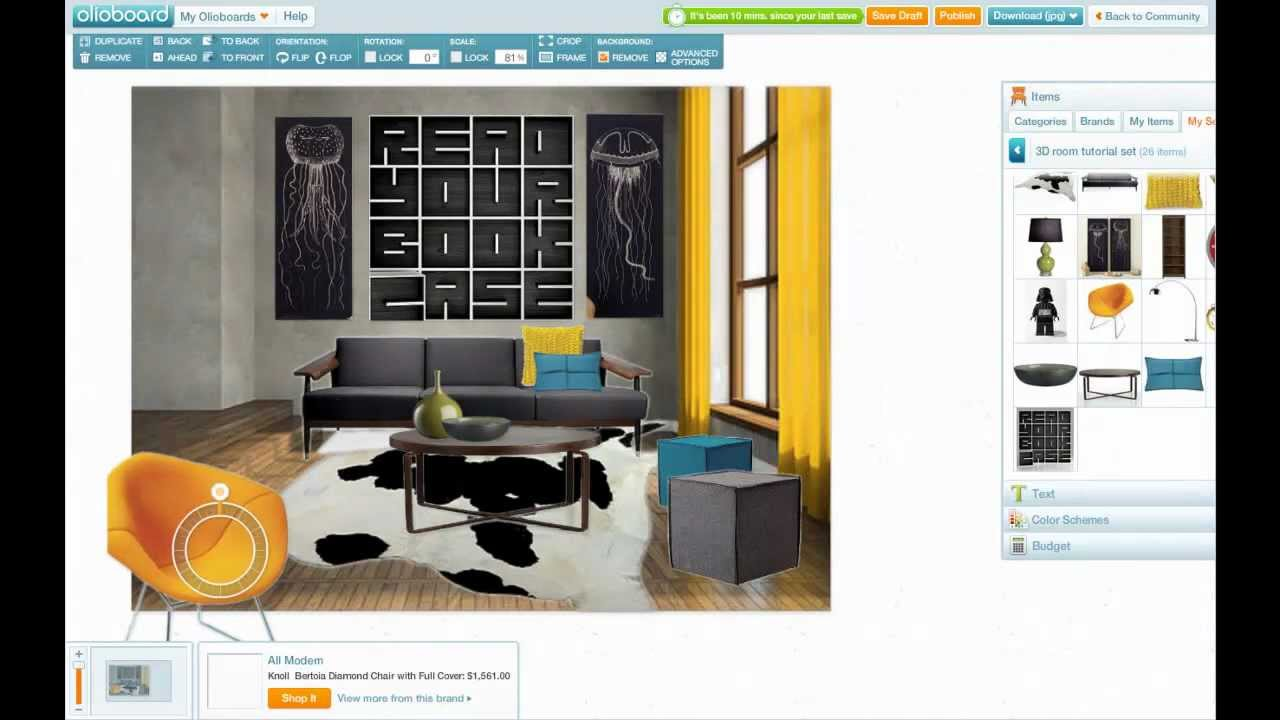 How to create 3d room designs on olioboard youtube for Make a 3d room
