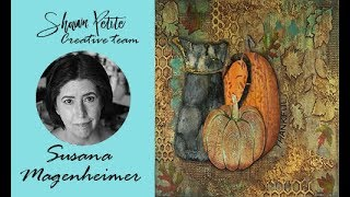 Thankful For Fall mixed media collage featuring gelli printing by CT member  Susana Magenheimer