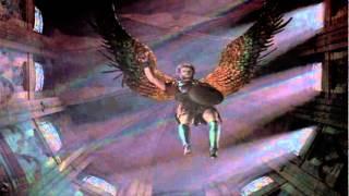 visão de Anjo descendo com espada de fogo.