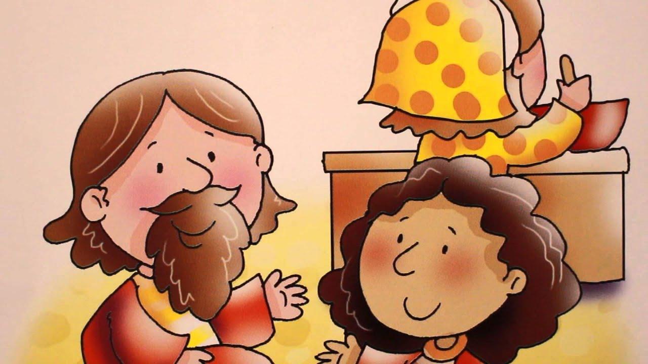 Desenho Bíblico, Jesus visita Marta e Maria.