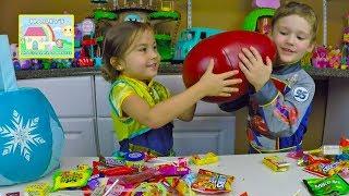 big halloween candy haul play doh giant surprise egg bubbles spooky disney toy surprises kids toys