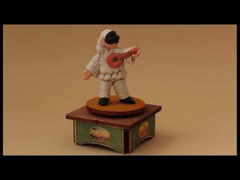 Carillon da collezione in legno - Pulcinella a mandolino, Melodia: Funicolì Funicolà