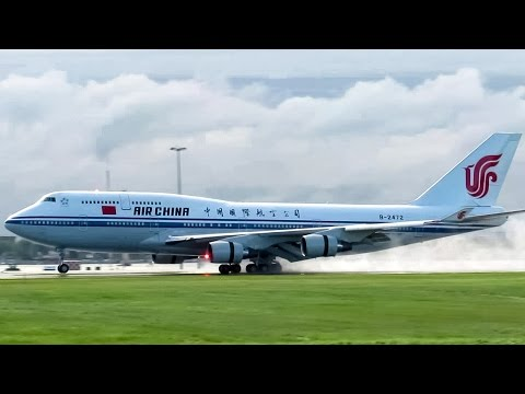 Air China (Prime Minister Flight) 747-400 (B744) landing & departing Montreal (YUL/CYUL)