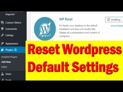 How to reset WordPress to default - Technical Digital