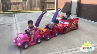 Download Ryan's Drive Thru Adventure with Lightning McQueen Power Wheels Ride On Car Mp3 and Videos