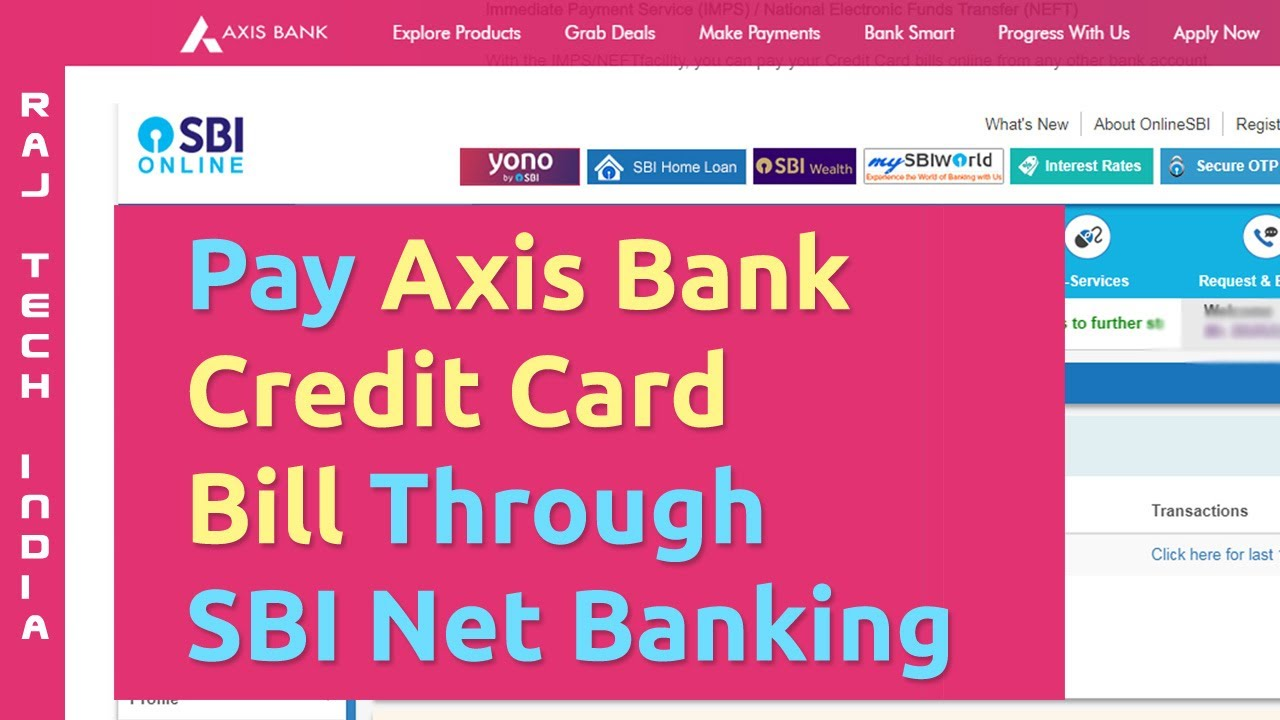 axis bank credit card payment through sbi online