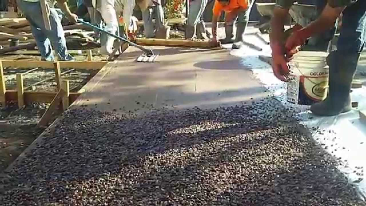 Veterans Concrete,..exposed Aggregate Seeding   YouTube