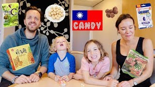 Our family try candy from Taiwan