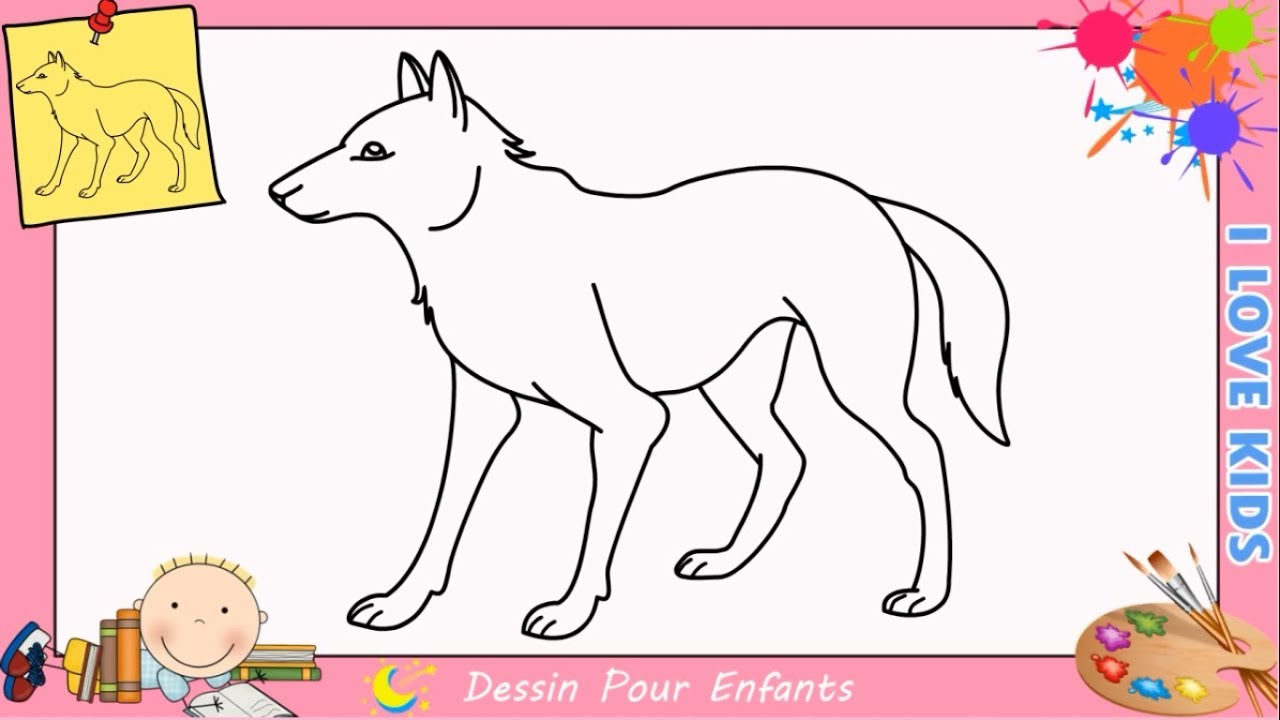 Dessin loup facile etape par etape comment dessiner un loup facilement 2 youtube - Dessin enfant facile ...