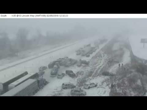 Deadly 70-car pileup caught on camera