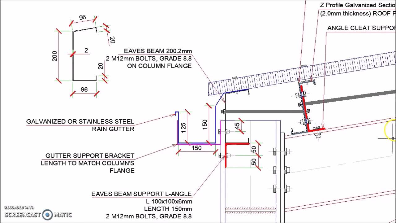 Steel Hangar Portal Frame Roof Eaves Beam Detail Youtube