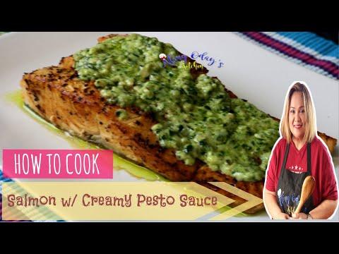 Salmon with Creamy Pesto Sauce