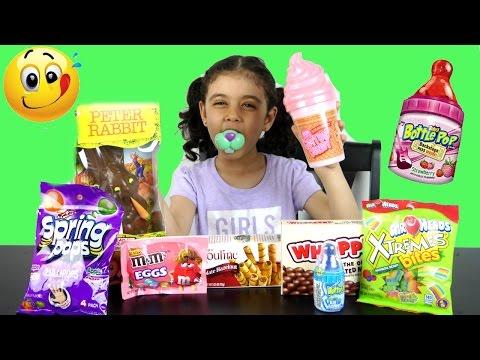 تذوق حلويات غريبة ببرونة سكر أرنب شوكلاتة ضخم و أيس كريم! Candy Taste Challenge