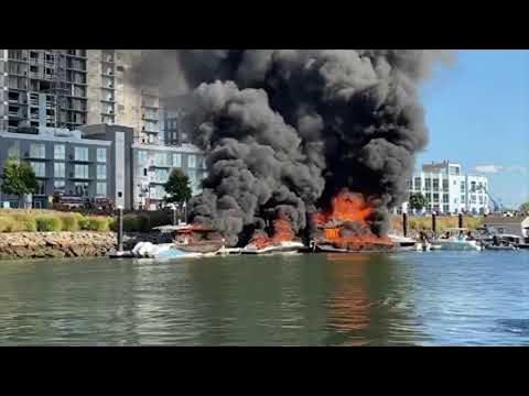 Flaming Boat Leaves Trail of Destruction