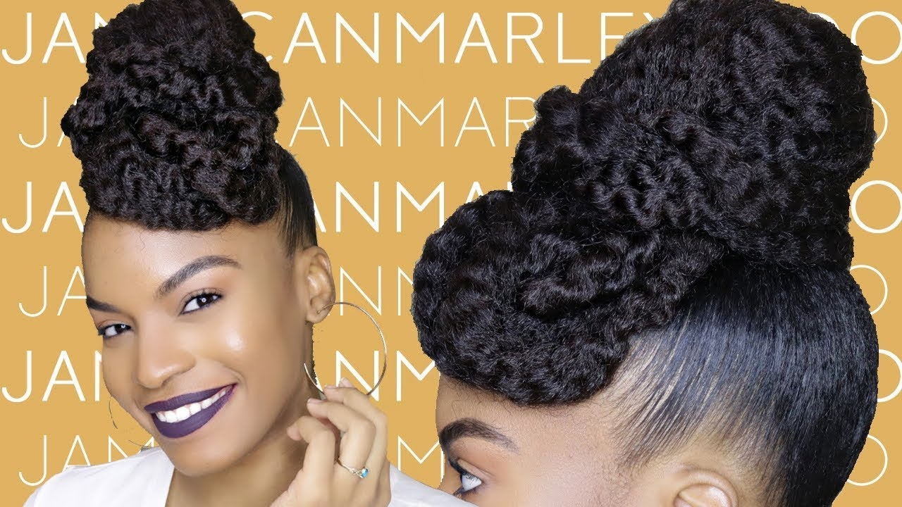 quick and neat bun and braid style using marley braiding hair | natural hair