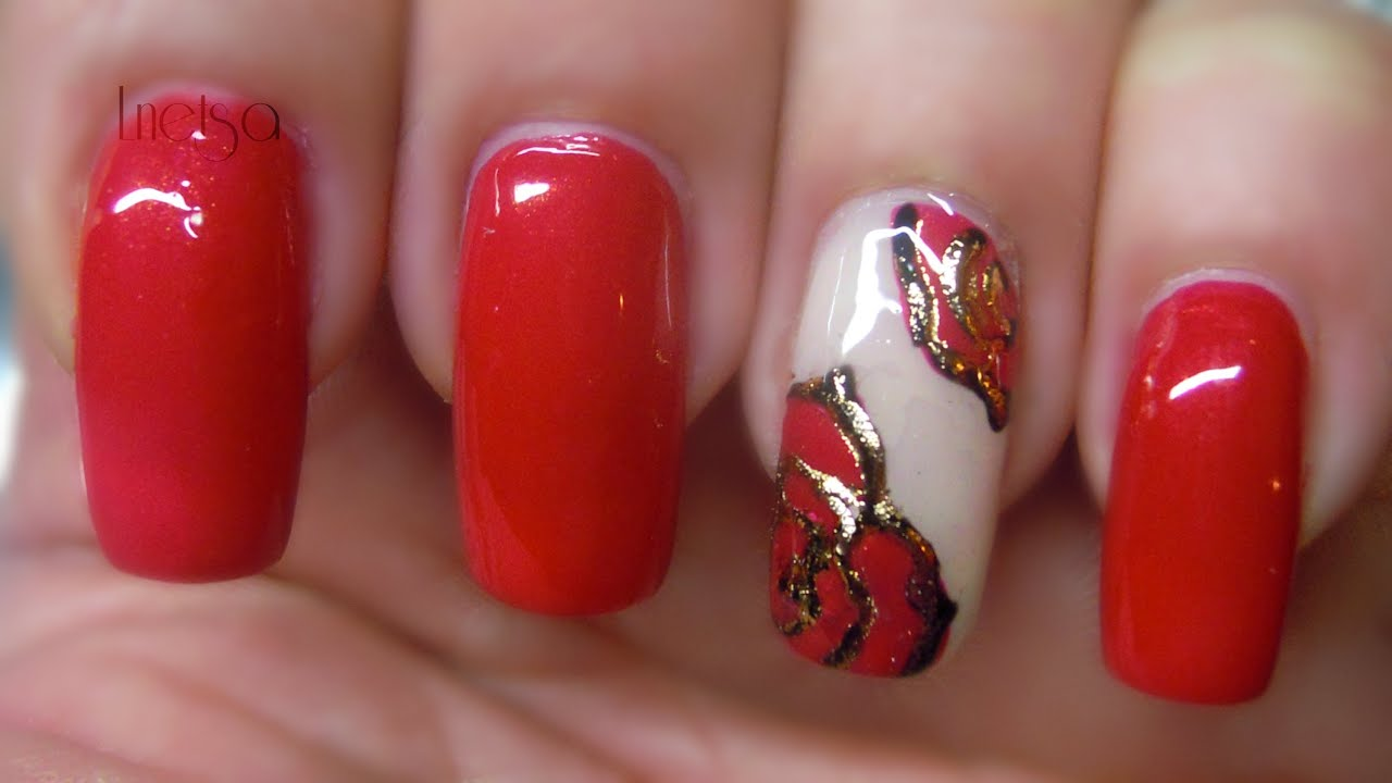 Foil And Paint Gel Nailart Red Carpet Roses Youtube
