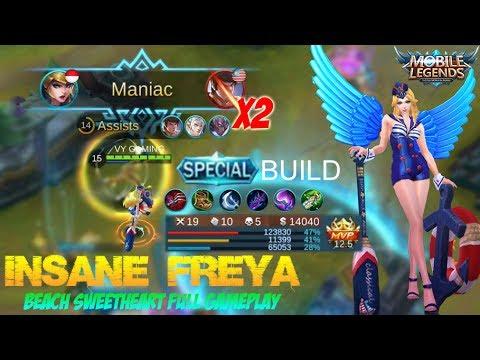 Mobile Legends - Insane Freya Almost Penta Kill Gameplay (Beach Sweetheart Skin) [MVP]