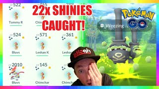 22x SHINY CHIMCHAR CAUGHT during COMMUNITY DAY in Pokemon Go! ( 3x GALARIAN WEEZING CAUGHT )