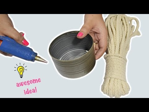 EASY RECYCLE TIN CAN IDEA| HOW TO RECYCLE TIN CAN WITH ROPE
