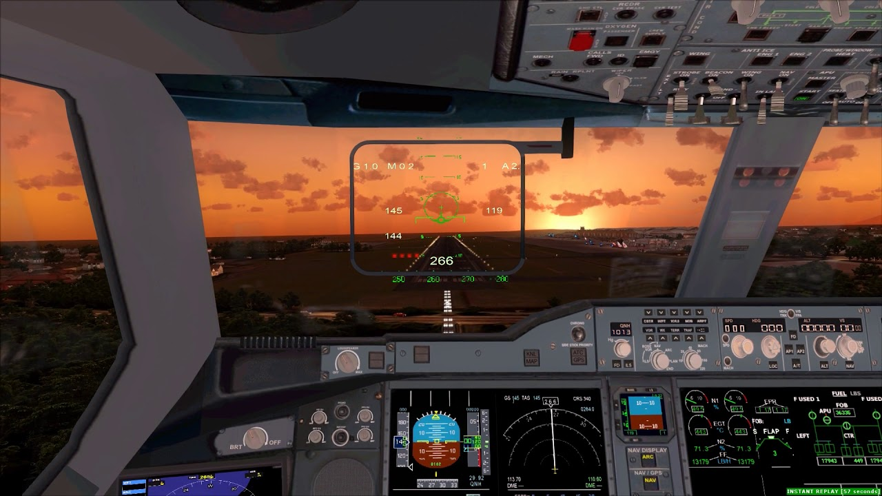 Cockpit Airbus A350-900 Sunset Landing Bali ++ FSX