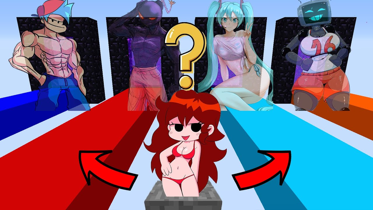 Minecraft FNF Girlfriend: DO NOT CHOOSE THE WRONG PORTAL (Boyfriend OR Whitty OR Miku OR Hex ?)