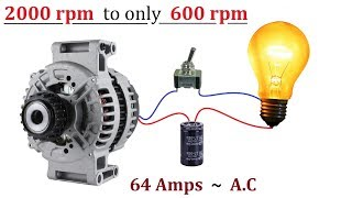 12V 64 Amps Car Alternator ( 2000 RPM ) Converted to ( 600 RPM ) - No Circuit or Transformer Needed