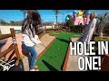 THE LUCKIEST MINI GOLF HOLE IN ONE BOUNCE EVER! JUMPED IN THE HOLE!