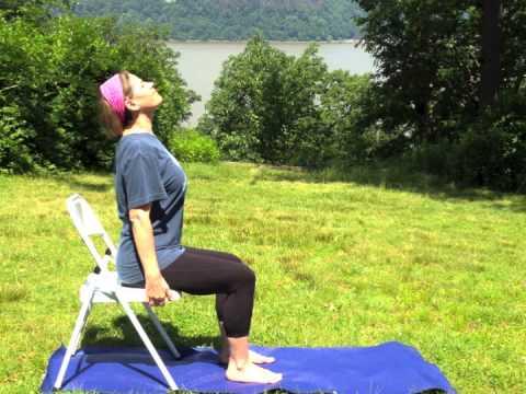 yoga seated wheel pose chair yoga  yoga therapy  youtube