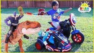 Thanos steals Ryan's Avengers Superhero Captain America Power Wheel!!!